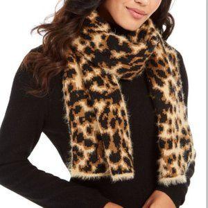 DKNY Fuzzy Tan Leopard Animal Print Knit Scarf